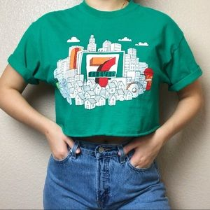 Tops - 7 ELEVEN City Graphic Raw Edge Crop Top T-Shirt